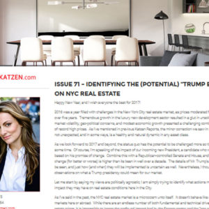 "Issue 71 – Identifying the (potential) ""Trump Effect"" on NYC Real Estate"