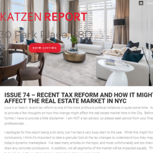 Issue 74 – Recent Tax Reform and How it Might Affect the Real Estate Market in NYC